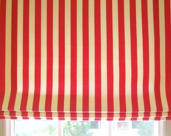 "Custom Roman Shade Standard - Flat (24-48"" Wide To 60"" Long) with Privacy Lining and Cordlock Lift System- Choose Color"