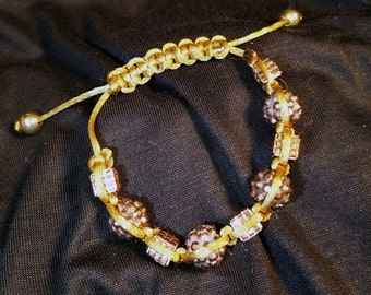 Shamballa Square Knot Adjustable Bracelet in Browns with Beautiful Brown and Copper Beads