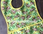 Monkey Toddler Bib with Pocket - Green Yellow Brown