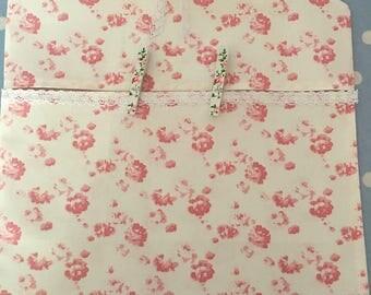 Shabby chic cotton fabric peg bag