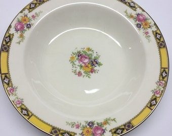 Edwin M. Knowles China  8 inch coup soup bowl. Made in USA 41-3 Yellow Band With Purple and Black Pink Roses