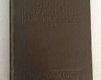 Gregg Shorthand Dictionary 1930 Brown Leather Signed By Student 1930