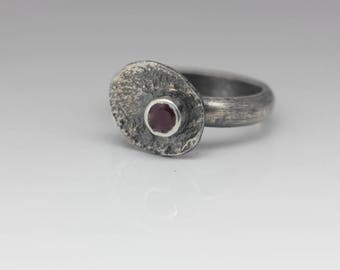 Ruby Ring, Ruby and Sterling Ring, Reticulated Silver Ring, Artisan Ring, Size 6 1/2
