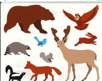 SALE Vintage Mrs Grossman Woodland Animals Stickers - Bear Raccoon Owl Rabbit Fox Skunk Squirrel Deer BluebirdScrapbook