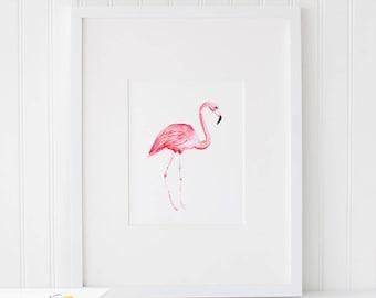 Watercolor Flamingo Watercolor Painting, Wall Art Print - Art Drawing Watercolor Print - 5x7, and 8x10