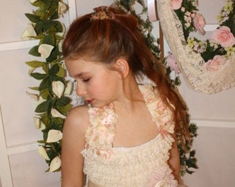 ivory and pink shabby flower girl dress, for weddings,birthdays,photoprop