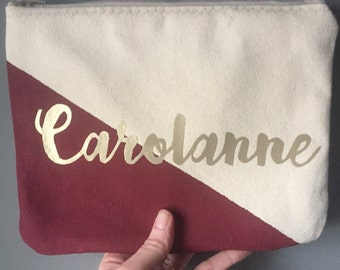 Personalized name color block Zipper Pouch Clutch Make up bag diaper bag accessory Custom colors burgundy gold