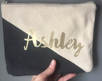 Personalized name color block Zipper Pouch Clutch Make up bag diaper bag accessory Custom colors black gold