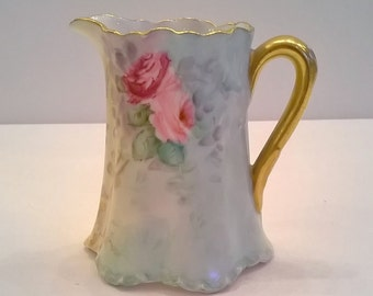 Vintage Haviland France Pink Roses Creamer - Antique Porcelain Small Pitcher