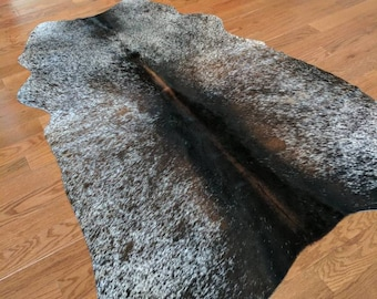 Tricolor Brazilian Cowhide rug / Brown spotted Hair-on-Cowhide rug / genuine cowhide rug 4x5 feet