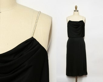 1970s Disco Dress. Rhinestone Dress. Black Cocktail Dress. Studio 54 Dress. Little Black Dress LBD. Draped Dress. Sleeveless Dress. Small.