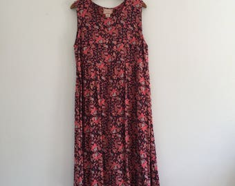 Vintage 90's Pink April Cornell Midi Dress M