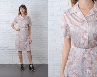Vintage 70s Gray + Yellow Mod Dress Shirtdress Floral Print Shirt Dress Medium L 9125