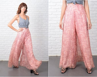 Vtg 60s 70s Silk Trousers Pants Wide Leg Palazzo Pants Pink Reptile High Waist 9565