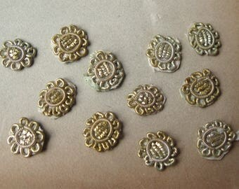Vintage Silver Bullion Appliques Tiny Medallions Flowers Sew-on India (12)