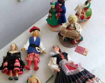 National Costume Dolls, European Figurines Instant Collection, Folk Travel Souvenir Ethnic Dolls, Greece Spain Switzerland Poland Ukraine