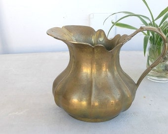 Vintage Brass Water Pitcher, Art Nouveau Brass Home Accents, Ethnic Table Vase, Heavy Water Jug