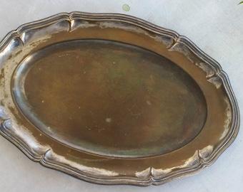 Vintage Oval Tray, Jungalow Style Distress Tray, Oval Brass Platter, Wedding Decor, Brass Jungalow Decor, Vintage Serving Tray Pot Base
