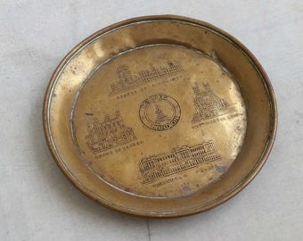 Vintage Brass Change Dish, London Memorabilia  Small Plate City Sites, Mid Century Table Organizer Jewelry Patina Plate