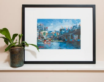"""Vancouver Cityscape Painting // Cambie Street Bridge (Vancouver no. 45) // 13"""" x 9"""" // Original Acrylic Painting on Paper"""