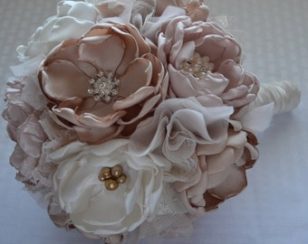 Fabric Bouquet - Large Size -Champange, Pale Dusty Pink, and Cream - Heirloom bouquet, Bridal Bouquet, Vintage Style Wedding, Fabric Flowers