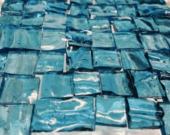 50 BLUE WATER RIPPLE Odd Transparent Stained Glass Mosaic Tile I-3