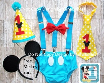 Mickey Mouse Birthday outfit cake smash red blue yellow Free Ears Blue suspenders I am One Hat diaper cover bow or tie 9 12 18 24 toddler