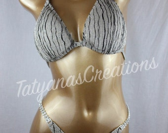 In Stock : Tan Black Silver gold Glitter figure suit D cup Small bottom.