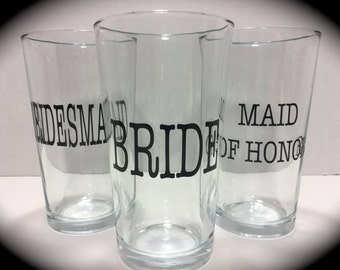 Wedding party gift etsy wedding party gifts 16 ounce pub glass bride maid of honor bridesmaid junglespirit Image collections