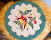 handmade antique hooked rug chair cover folk Americana