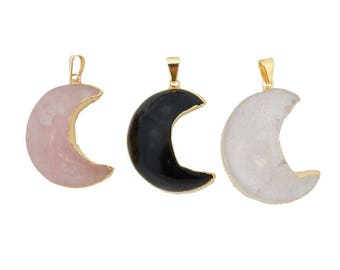 Gemstone Moon Crescent Pendant with Electroplated 24k Gold Edge. (S121B1)
