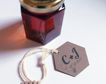 Honey Dipper Tags or Honey Jar Labels for Wedding Favor Guest Gifts Customized with Your Initials Date Set of 100 Hexagon