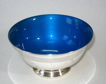 "Reed & Barton 5"" Blue Enamel and Silver Plate Revere Bowl #102 - Mid Century Modern Candy Dish"
