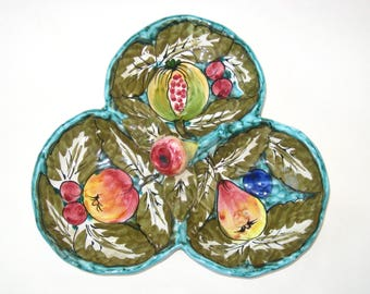 Retro Signed Italy Majolica 3 Section Dish with Hand Painted Fruit -Mid Century Hollywood Regency Art Pottery Tray