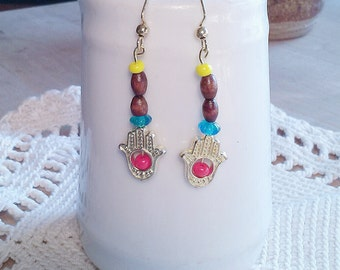 Boho Hamsa Hand Earrings, Handcrafted Dangle Earrings Pierced Goldtone