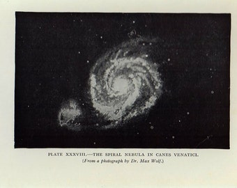 Astronomy Print, 104 years old, The Spiral Nebule in Canes Venatici, astronomical star chart map space 1912 astrology