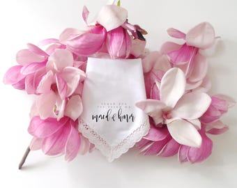 Thank you for being my bridesmaid PRINTED lace edge Wedding Handkerchief. Bridesmaid. Maid of Honor. Matron of Honor. Wedding Hanky.