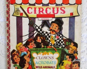 HOLIDAY SALE 70% Off Vintage or Antique RARE Circus Children's Collectible Book, A Bonnie Book~Clowns, Acrobats, Wild Animals, Side Show