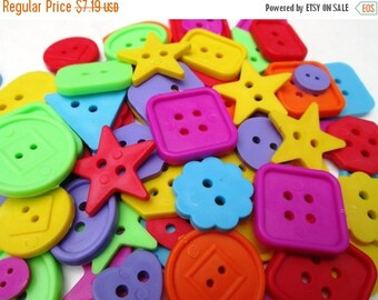 Spring SALE 20% Off 100 Colorful Craft Shaped Buttons....embellishments, scrapbooking, button art..New Supply