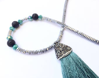 Long tassel necklace, beaded necklace, Aqua green tassel necklace, long beaded necklace, silver and green, statement necklace.