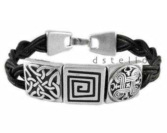 Celtic bracelet, men's leather bracelet,  men's celtic jewelry, custom mens leather bracelet, celtic cuff, for women, men,