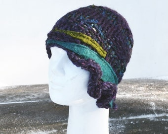 cloche hat for winter, retro knit hat soft wool, violet hat acrylic felted wool decoration, ooak woman beanie unique  fashion art to wear
