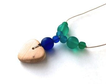 Aphrodite Teething Necklace - Nursing Necklace - Breastfeeding Necklace - Juniper Heart - Blue, Turquoise, Teal, Green Gradient