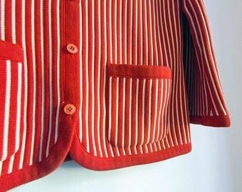 Vintage Sweater Swinging 60s Striped Cardigan Red & White Candystripe Mod Retro 70s Vertical Stripe White Stripes