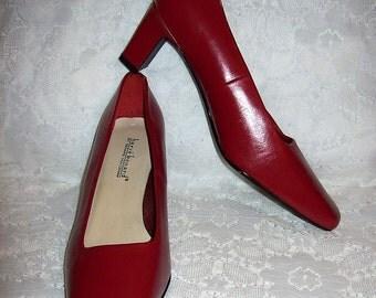 Vintage Ladies Red Leather Pumps Harve Benard Bernard Holtzman Size 8 1/2 W Only 10 USD