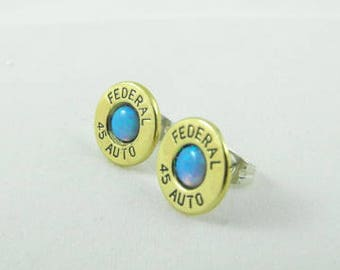 Bullet earrings brass and synthetic opal post earrings 45 Auto Federal