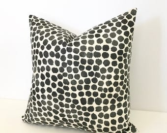 Black and white watercolor dots pillow cover, black spots pillow
