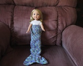 "Mermaid tail blanket blue purple pink yellow multicolor Hand-crocheted to fit 14.5"" Wellie Wishers Dolls"