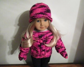 "Hot Pink Hand-Knit Multi-Color Cable Sweater, Hat and Mittens for 18""  18 inch Dolls"