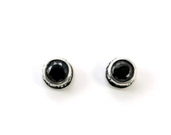 Sterling, Post Earrings, Black CZ, CZ Earrings, CZ Studs, Cz Posts, Stud Earrings, Black Studs, Round Studs, Round Earrings, 1197b